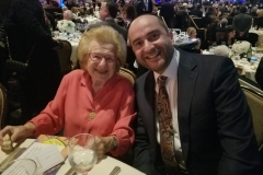With the remarkable 90-year-old Dr Ruth Westheimer, fellow guest at LAMOTH annual banquet at the Beverly Hilton commemorating the 80th anniversary of Kindertransport, December 3, 2018