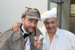 "Rabbi Dunner on Purim as Sherlock Holmes, together with ""Chef"" Jack Abikzer (2016)"