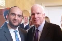 Rabbi Dunner with Senator Bob McCain, at a private fundraiser, Beverly Hills (2015)